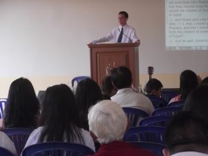 I am preaching at Lanna BC before the building was completed.