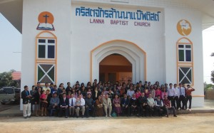Several churches came to the building dedication service at Lanna BC